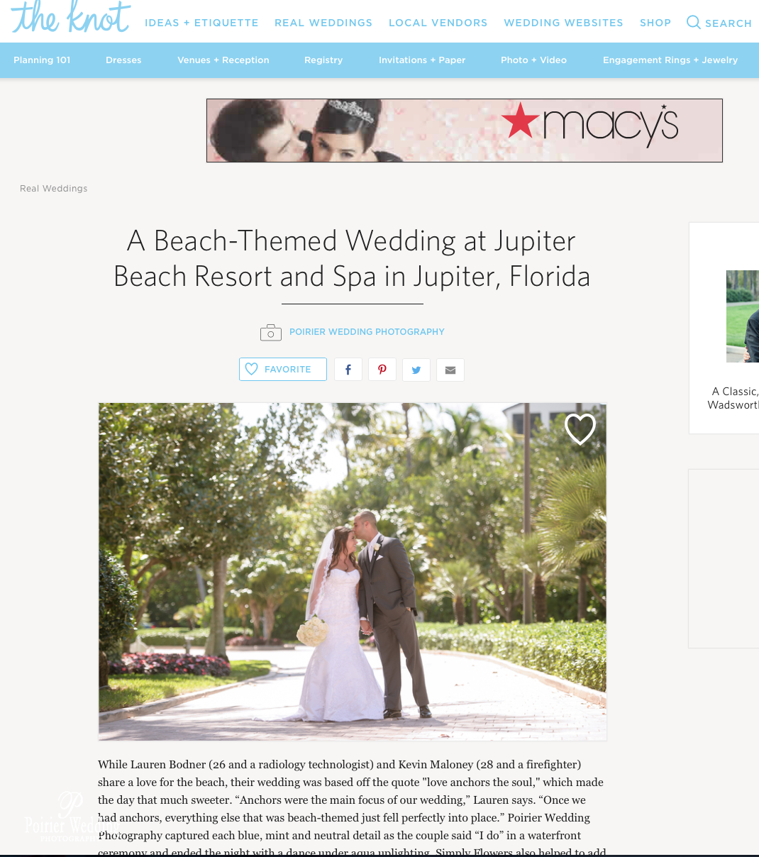 Lauren + Kevin\'s Wedding | Featured on The Knot » Palm Beach Wedding ...