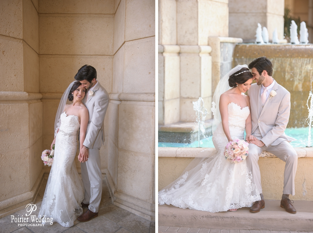 Candid moment of bride and groom at Palm Beach wedding