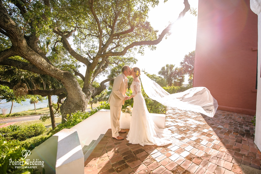 Beautiful portrait of bride and groom for destination wedding