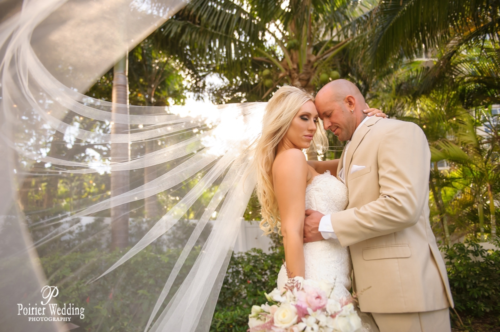 Bride and Groom share romantic moment for their Boca Raton wedding.