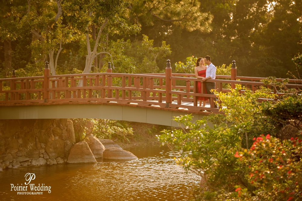 Engagement photo shoot at Morikami Garden and Museum