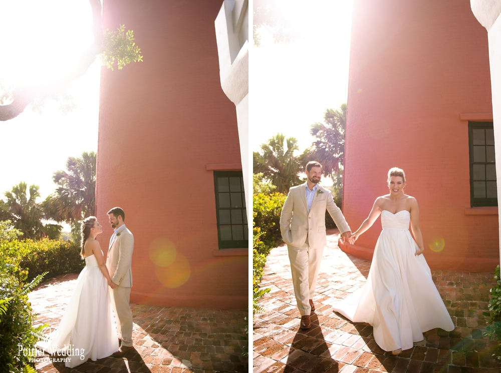 Bride and groom photos at Jupiter Lighthouse