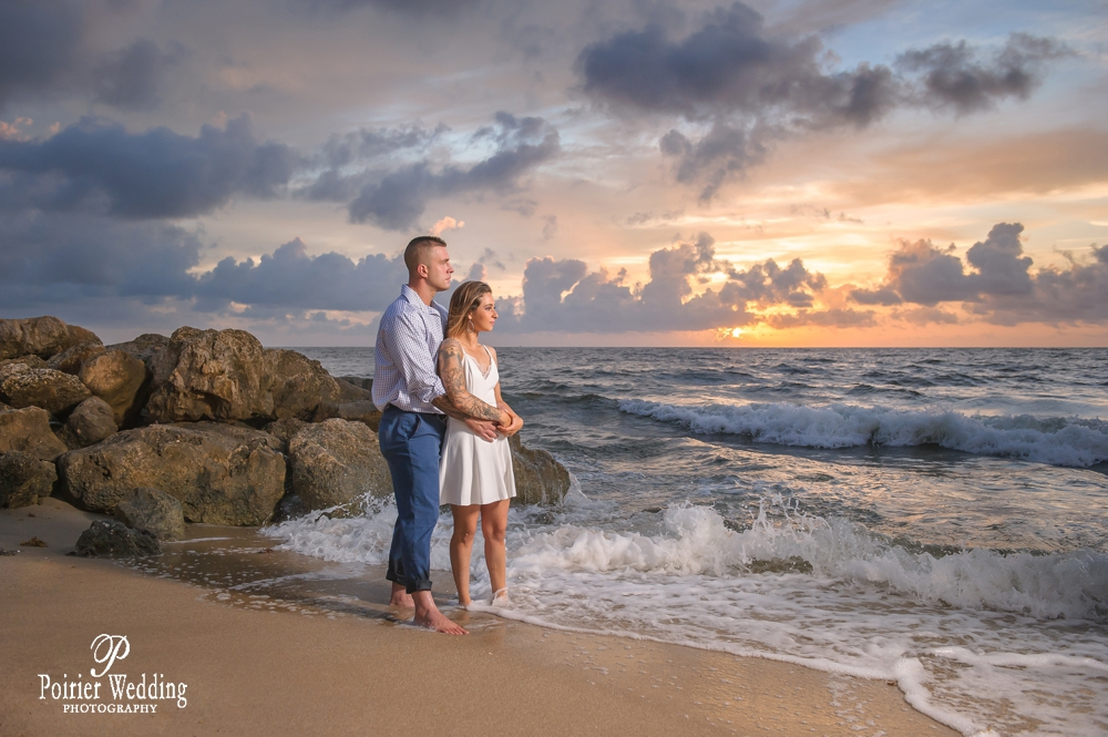 Sunrise engagement shoot for destination wedding